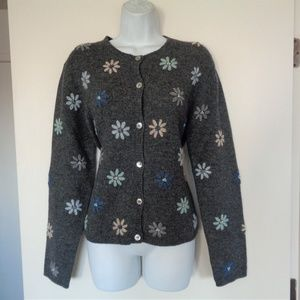 Ann Taylor Black Wool Flower Sweater Large